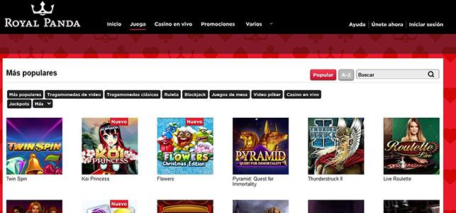 Royal Panda juegos casino