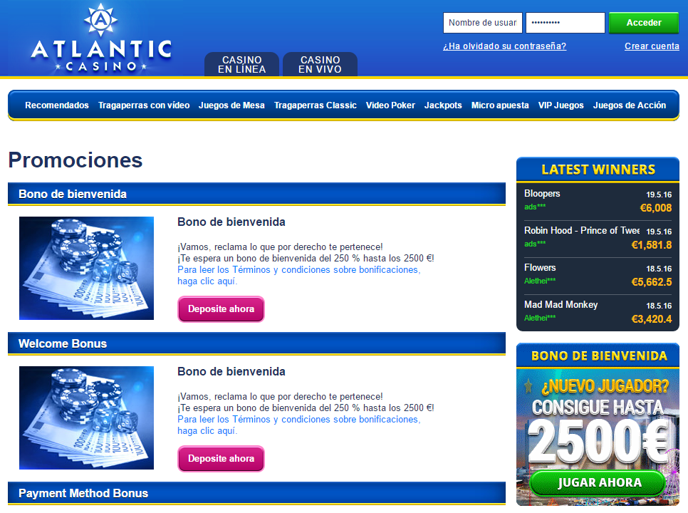 atlantic casino promociones