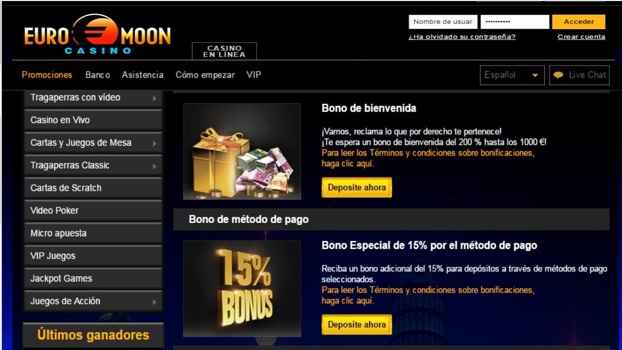 Saldo hasta de 15% más por método de ingreso casino Euromoon
