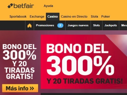 betfair casino bono