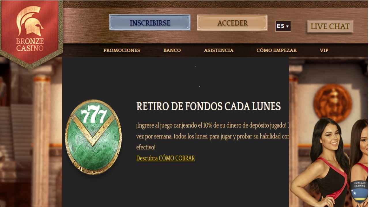 reembolso lunes bronze casino