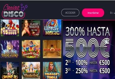 500 euros promocionales por bono de bienvenida Casino Disco