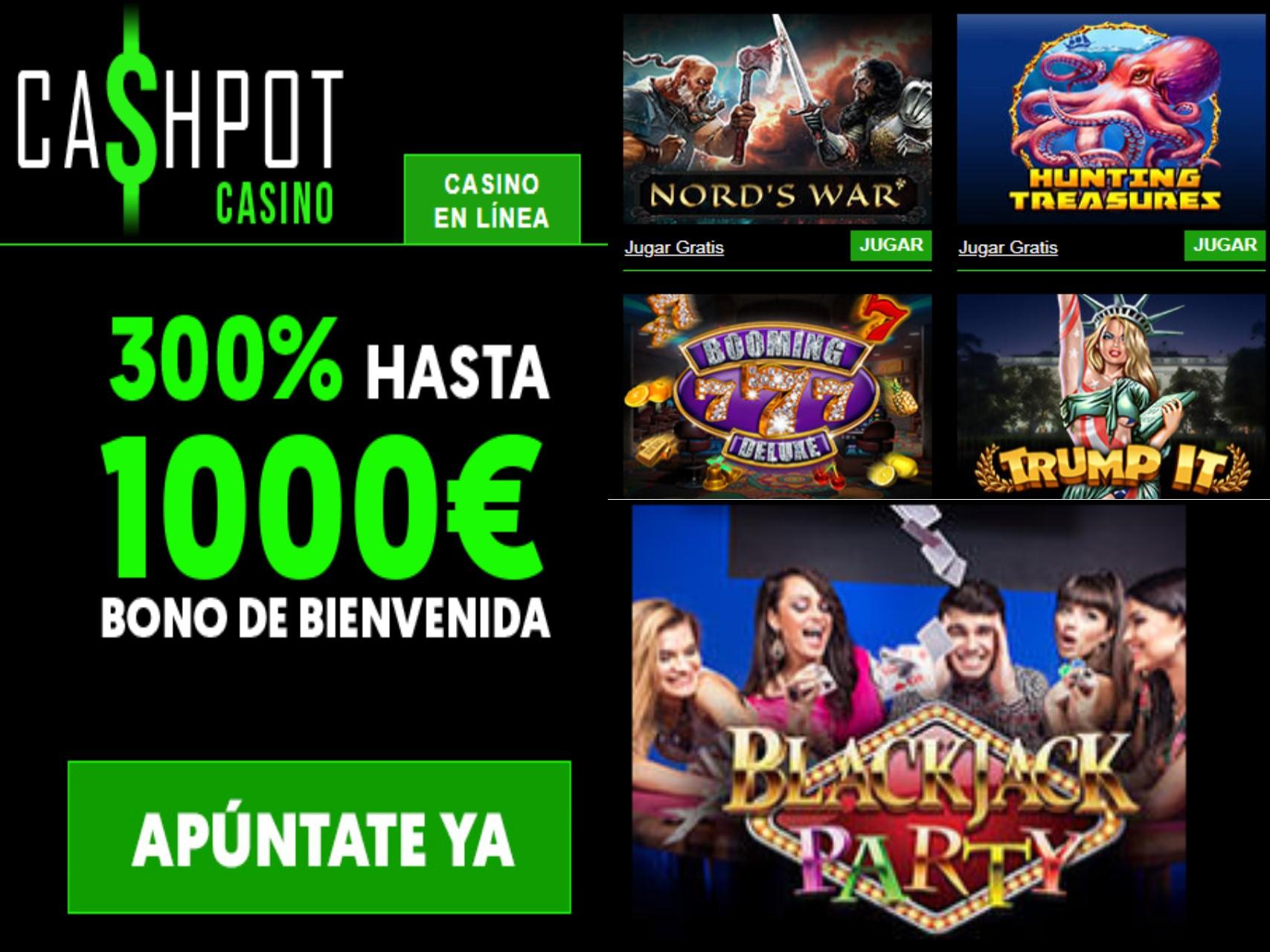 1000 euros por bono de bienvenida Casino Cashpot hasta por 300% sobre el primer depósito