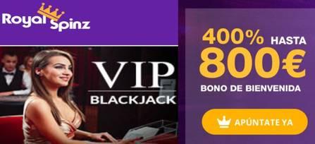 800 euros y 25 tiradas gratis por el bono de bienvenida Royal Spinz