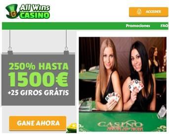 Por primer depósito hasta 1500 euros en casino Allwins