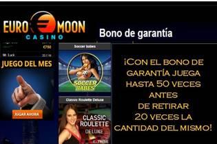 Bono de garantía casino Euromoon hasta 20 veces el valor del bono